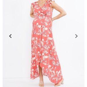 Splendid Floral Print Maxi Maternity Dress Large